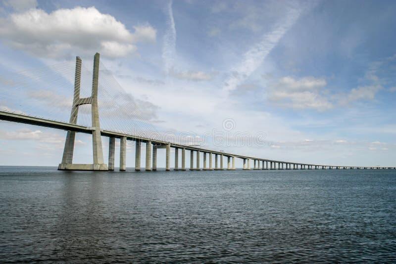 Lisbon, Portugal - September 18, 2006: Vasco da Gama Bridge ove stock image
