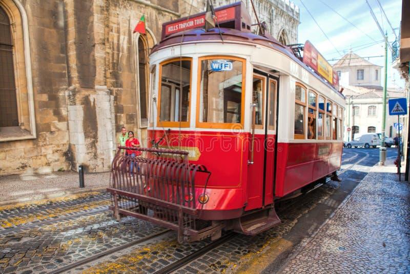 LISBON, PORTUGAL - SEPTEMBER 14 . 2017 . Vintage tram royalty free stock image