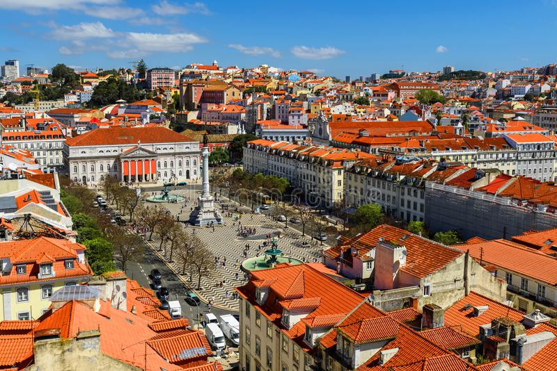 Lisbon, Portugal skyline view over Rossio Square from elevador Santa de Justa stock images