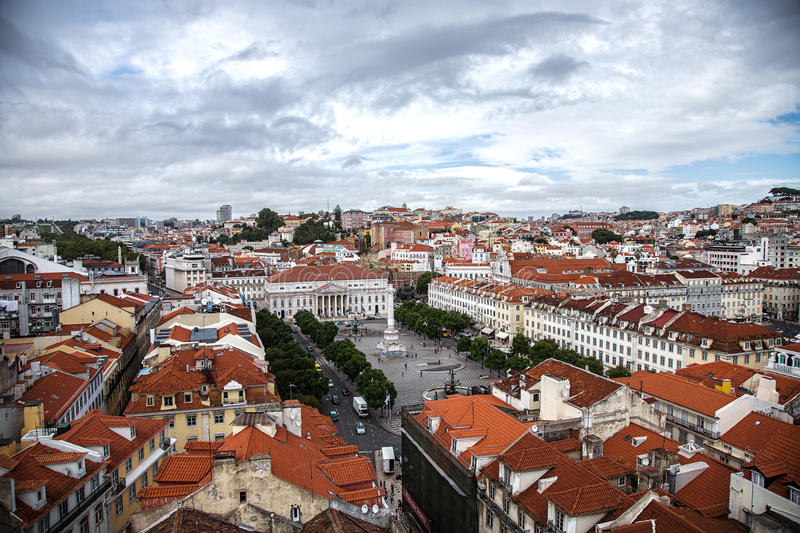 Lisbon, Portugal skyline view over Rossio Square stock photo