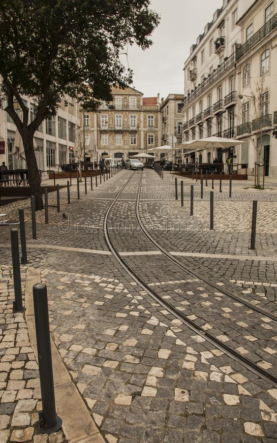 Lisbon, Portugal - streets and tramway tracks. royalty free stock photos