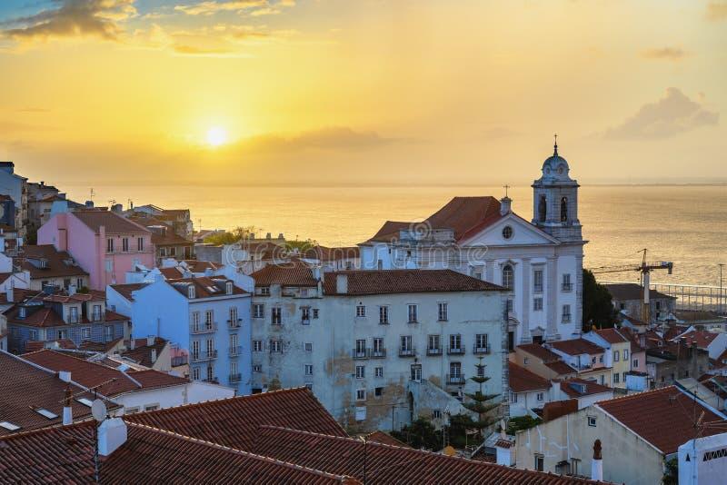 Lisbon Portugal sunrise city skyline royalty free stock photo