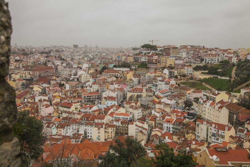 Lisbon Portugalia, Castelo, - De S Jorge; widok miasto fotografia royalty free