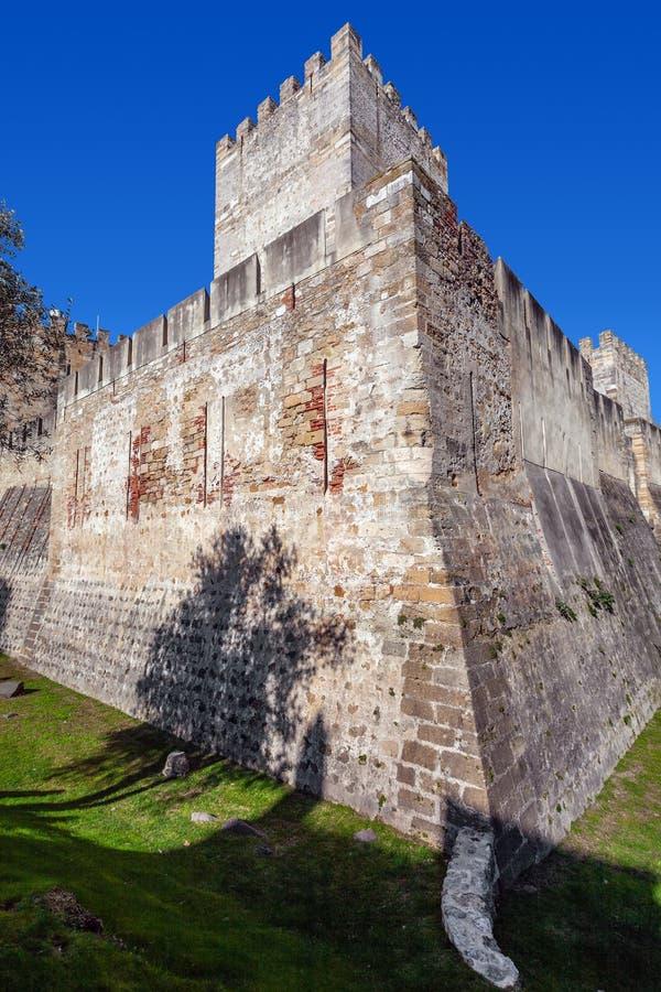 Lisbon Portugalia, Castelo De Sao Jorge, - aka świętego George kasztel Castelejo aka utrzymanie z fosą obrazy royalty free