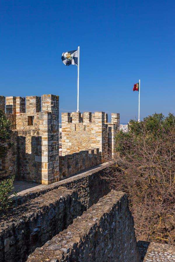 Lisbon Portugalia, Castelo De Sao Jorge, - aka świętego George kasztel Defensyw ściany obrazy royalty free