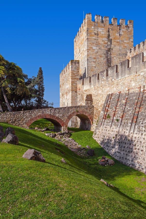 Lisbon Portugalia, Castelo De Sao Jorge, - aka świętego George kasztel Wejście Castelejo obrazy royalty free