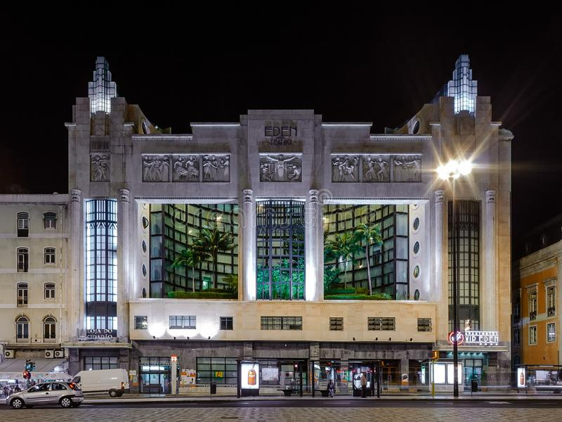 Lisbon, Portugalia: Eden hotel w Pracy dos Restauradores kwadracie obrazy royalty free