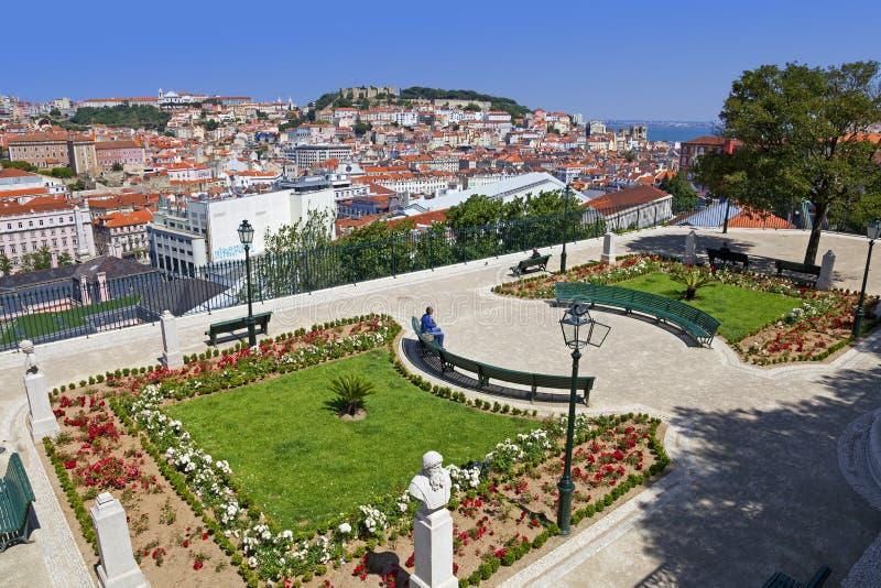 Lisbon Portugalia, Miradouro De Sao Pedro de Alcantara, - punkt widzenia obrazy royalty free
