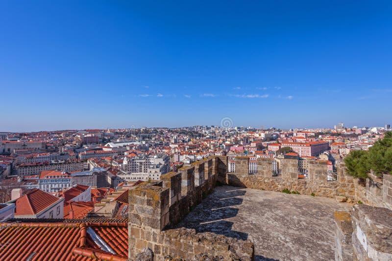Lisbon, Portugalia, Lisbon pejzaż miejski widzieć od Castelo De Sao Jorge świętego George aka kasztelu - fotografia stock