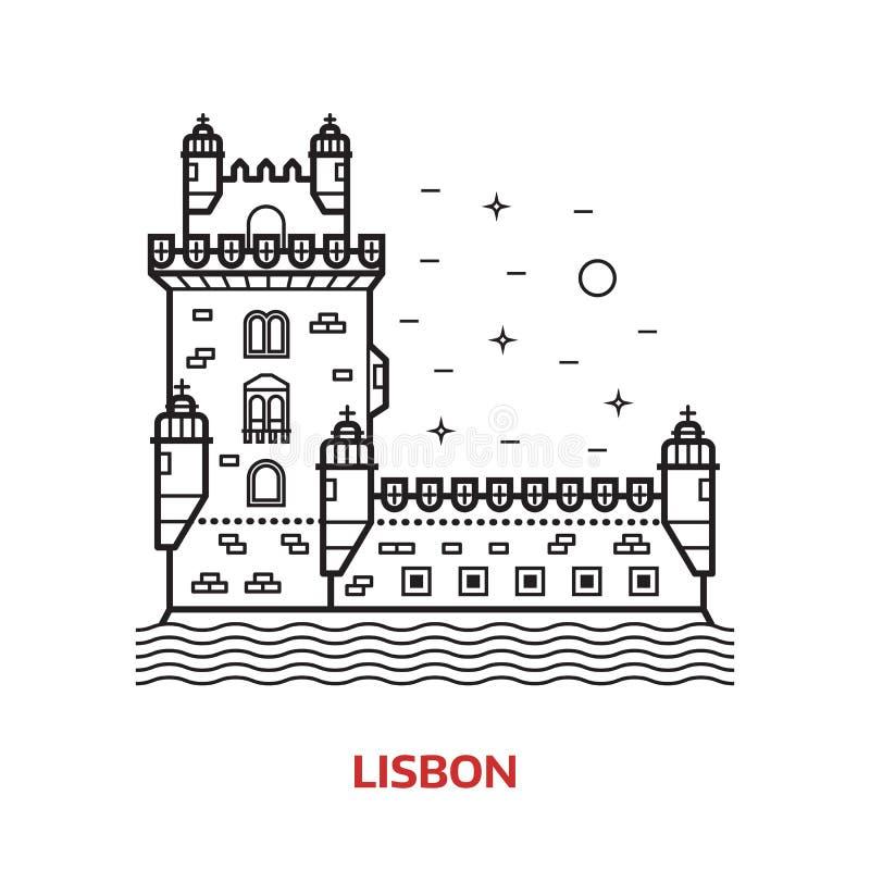 Lisbon punktu zwrotnego wektoru ilustracja ilustracja wektor