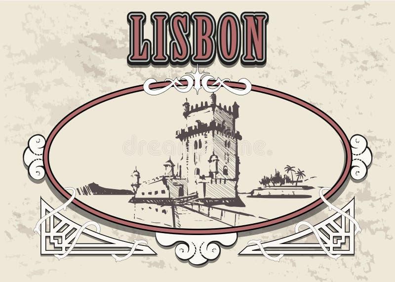 Lisbon ręka rysująca Torre de Belem wierza w Lisbon nakreślenia stylu wektoru ilustracji royalty ilustracja