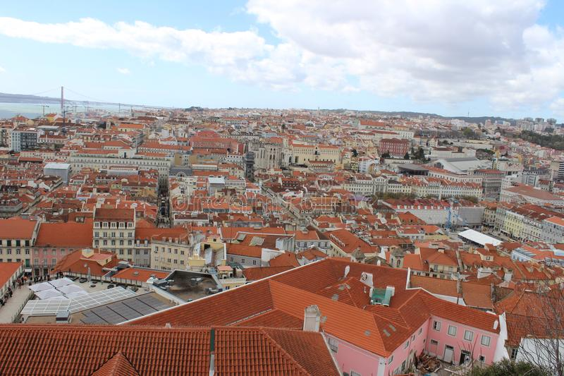 Lisbon red roofs royalty free stock image
