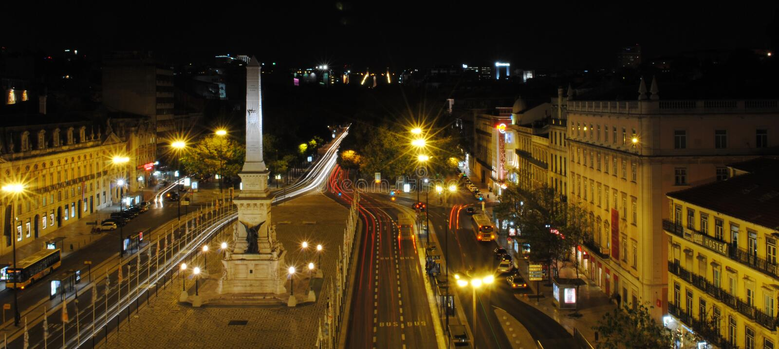 LISBON RESTAURADORES SQUARE NIGHT VIEW royalty free stock photography