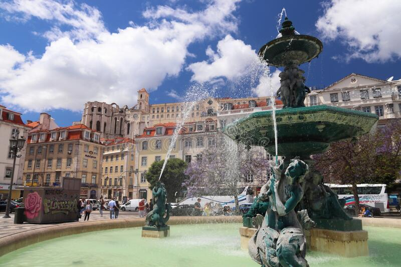 Lisbon Rossio Square stock photography