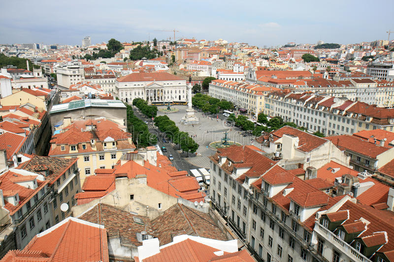 Lisbon and Rossio Square from the Santa Justa Lift