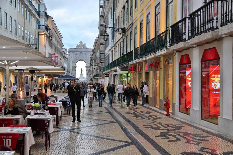 Lisbon Rua Augusta. LISBON, PORTUGAL - JUNE 5, 2018: People visit Rua Augusta shopping street in Lisbon. Lisbon is the 11th-most populous urban area in the EU (2 stock images