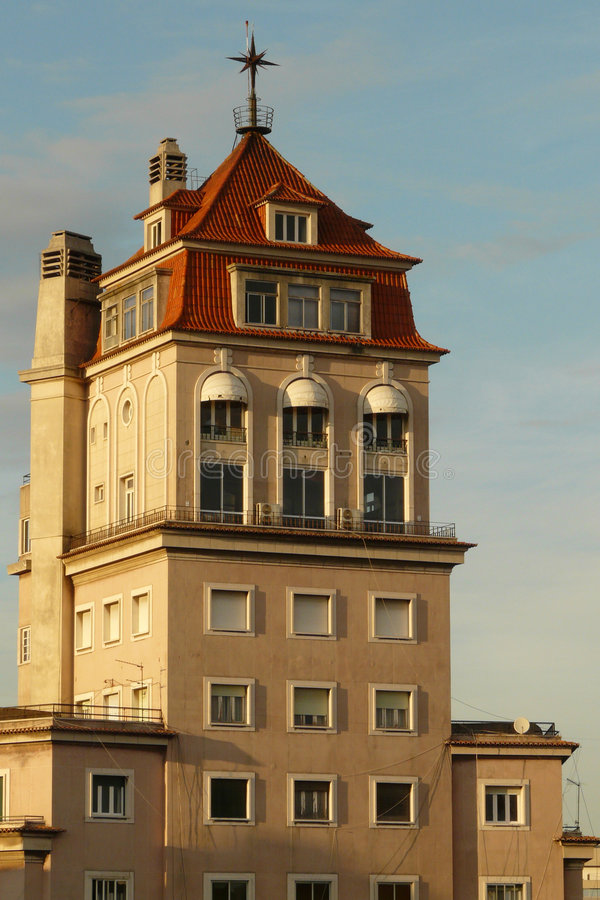 Lisbon's tower. Decorated tower of a residential building of Lisbon royalty free stock photo