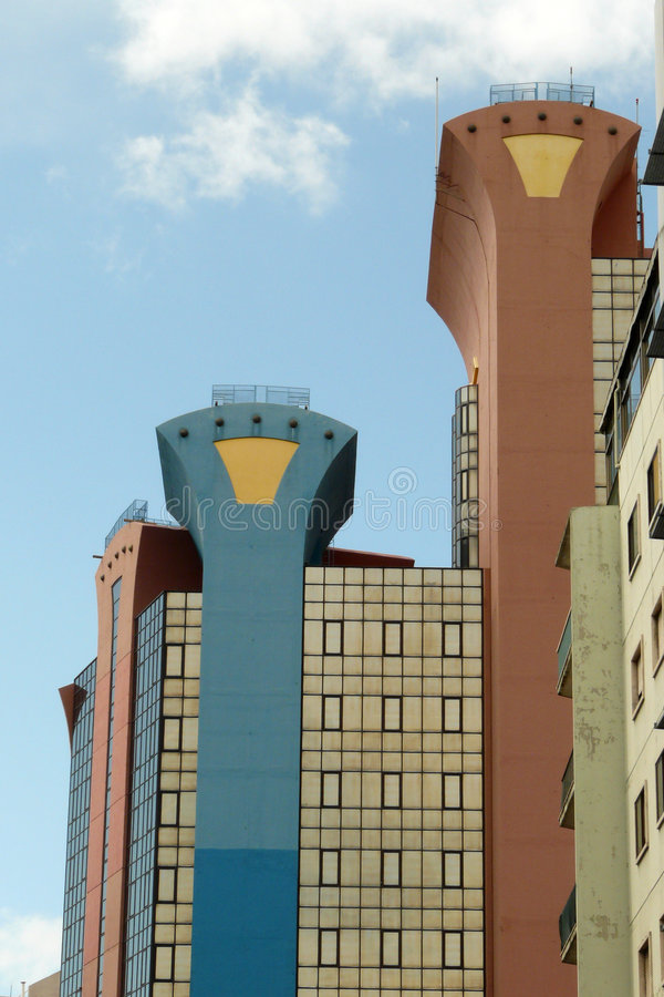 The Lisbon's twins. Two business towers in the Lisbon's area of Amoreira royalty free stock photos