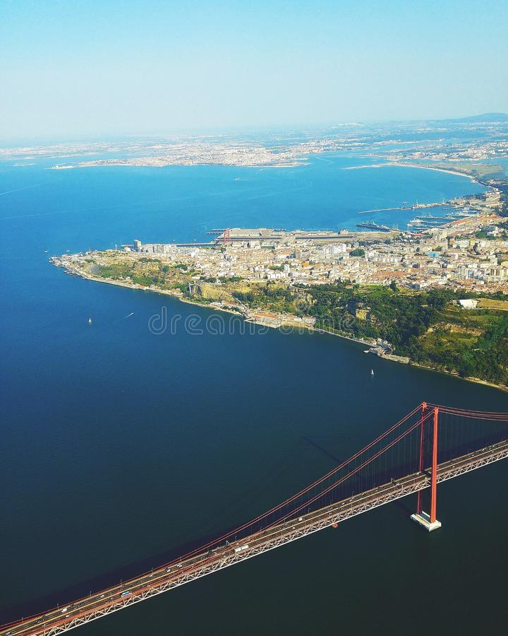 Lisbon from the sky stock photography