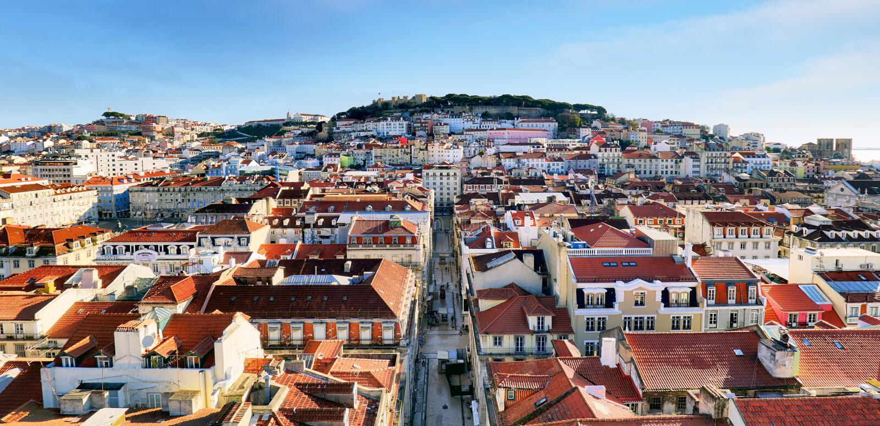Lisbon skyline stock image