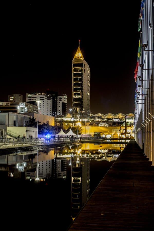 Lisbon skyline at night royalty free stock images