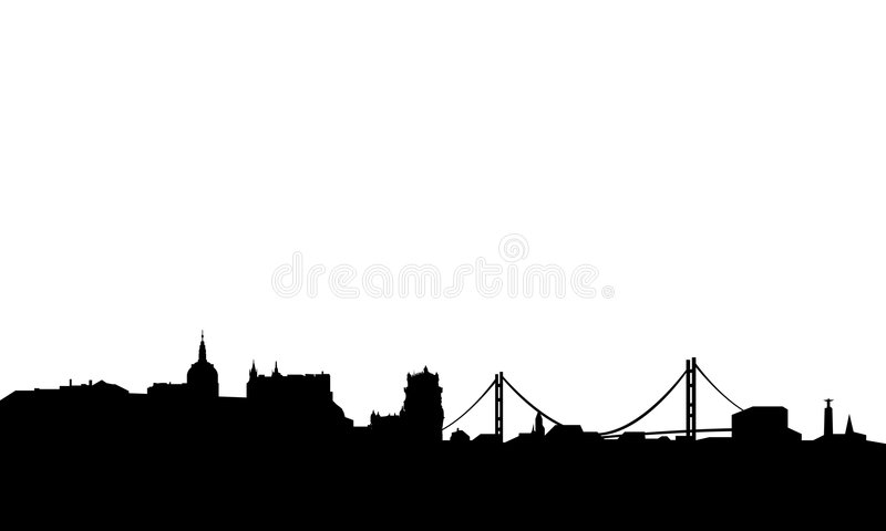 Lisbon skyline vector. Vectored illustration as silhouette of capital of portugal lisbon, with most visited landmarks isolated with blank background