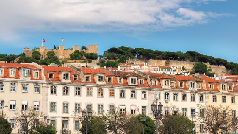 Lisbon stary miasteczko i Sao Jorge kasztel, Lisbon, Portugalia zdjęcia stock