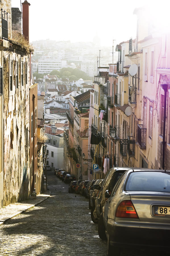Download Lisbon street stock image. Image of building, cars, buildings - 25748351
