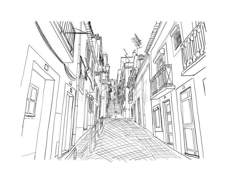 Lisbon street drawn sketch.Vector illustration.  royalty free illustration