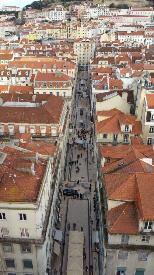 Lisbon street titled royalty free stock photo