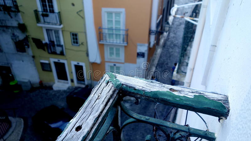 Lisbon street view in Alfama stock images