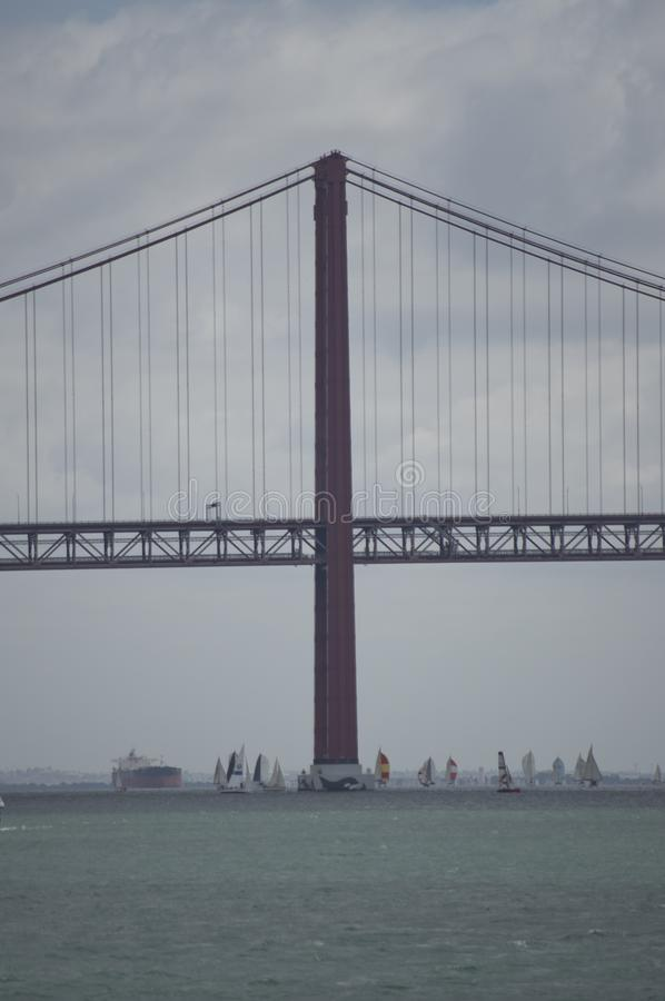 Lisbon suspension bridge. The 25 de Abril suspension bridge across Tagus river in the city of Lisbon, capital of Portugal stock images