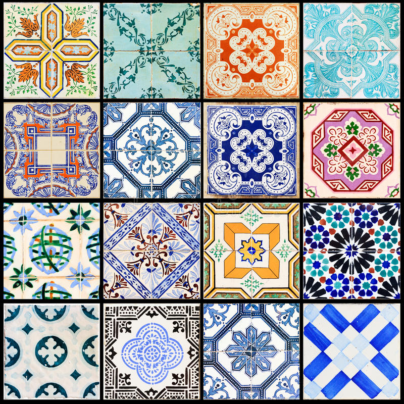 Lisbon tiles collage black stock image