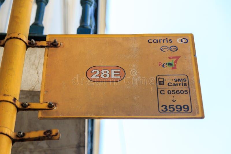 Lisbon tram 28 sign stock photo