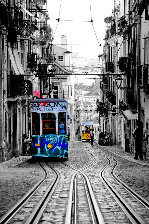 Lisbon Bica Cable Car with Ink Outlines Filter, Typical Trams, Historic Cablecars, Streetcars, Public Transportation stock images