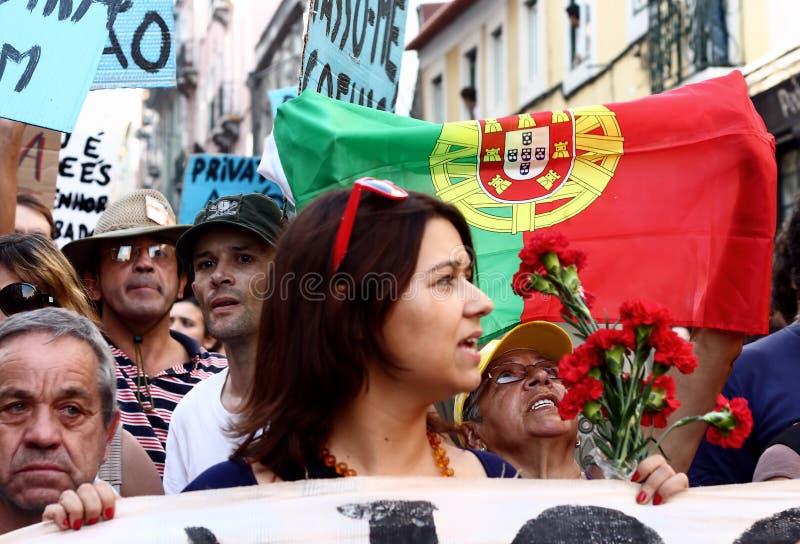 lisbon upptar protest s royaltyfri fotografi