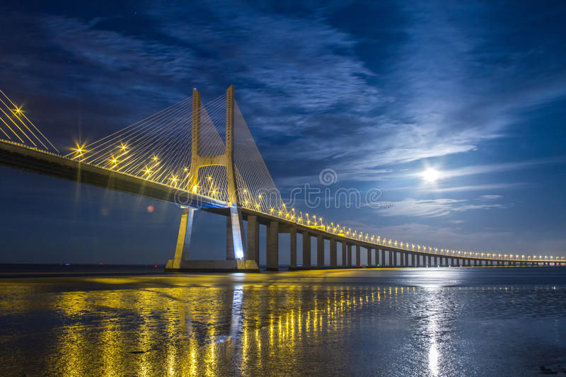 Lisbon, Vasco da Gama Bridge. Vasco da Gama Bridge in Lisbon, Portugal night scene - the largest bridge in Europe stock photo