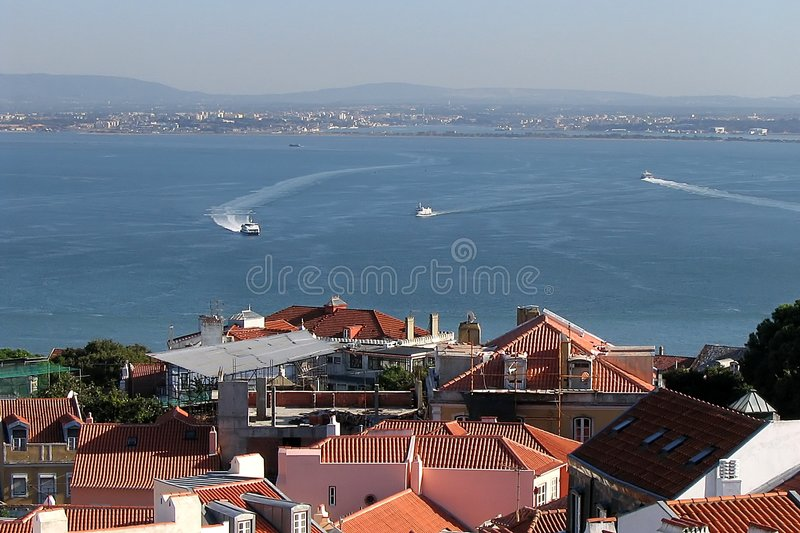 Download Lisbon, view stock image. Image of roofs, boat, oceanic - 250875