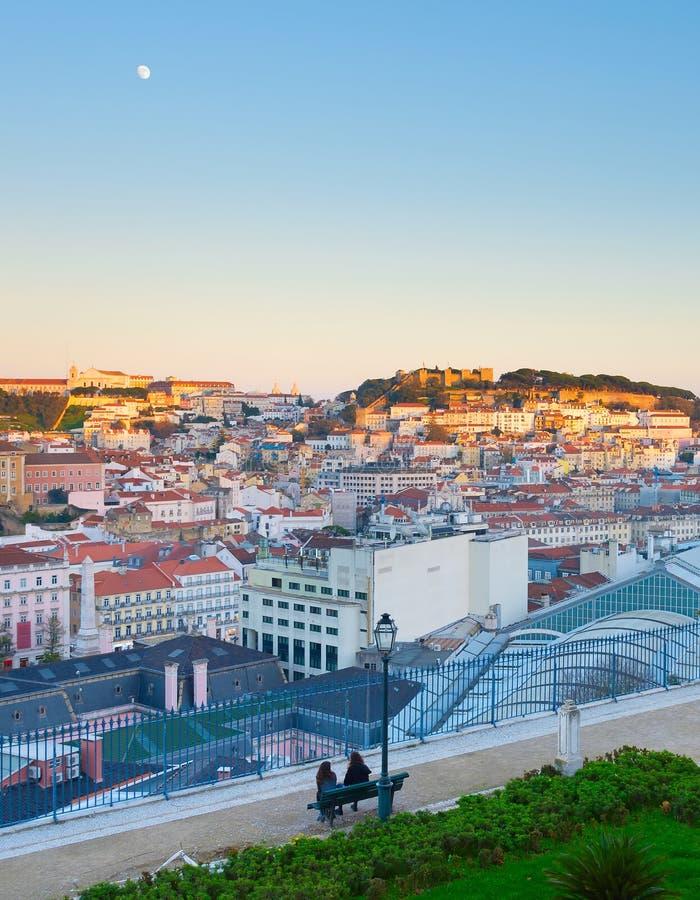 Lisbon widok przy zmierzchem Portugalia fotografia royalty free