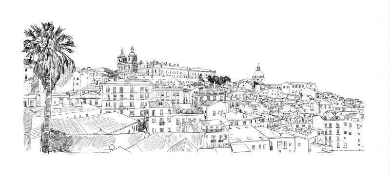 Lisbona, città Illustrazione di vettore illustrazione di stock