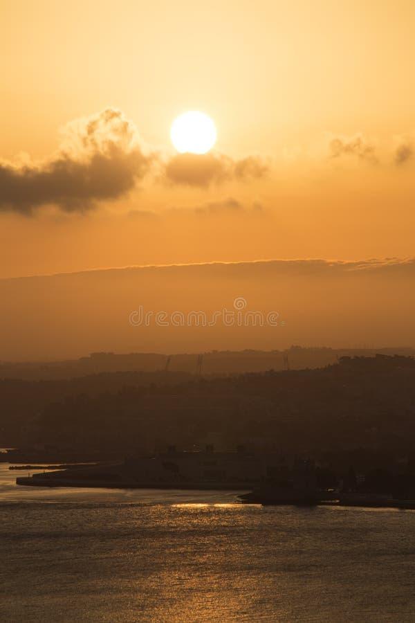 Lisbona nel tramonto fotografie stock libere da diritti