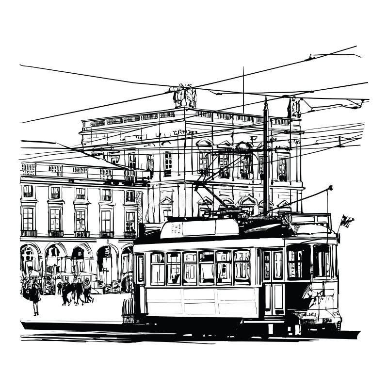 Lisbona, Portogallo Praca fa il commercio illustrazione vettoriale