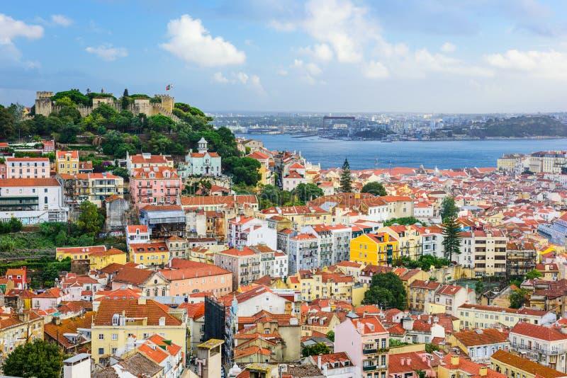 Lisbonne, horizon du Portugal et château image libre de droits