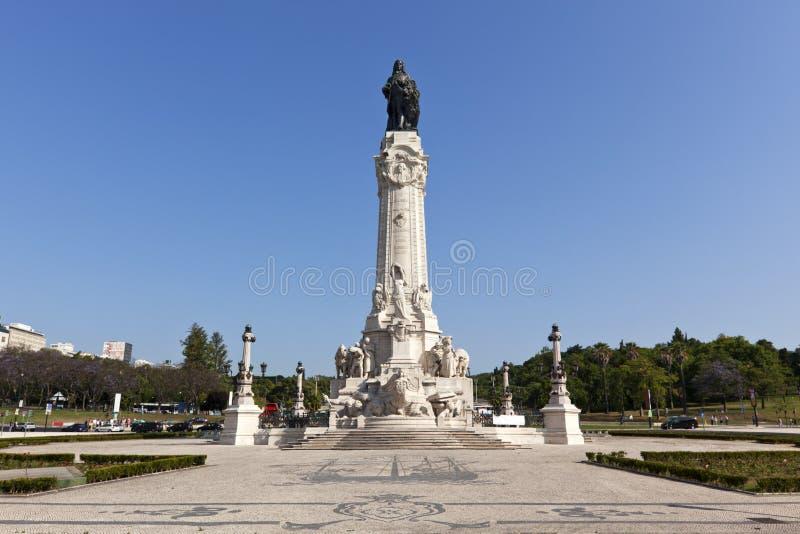 Lisbonne, monument sur la place de Marques de Pombal images libres de droits