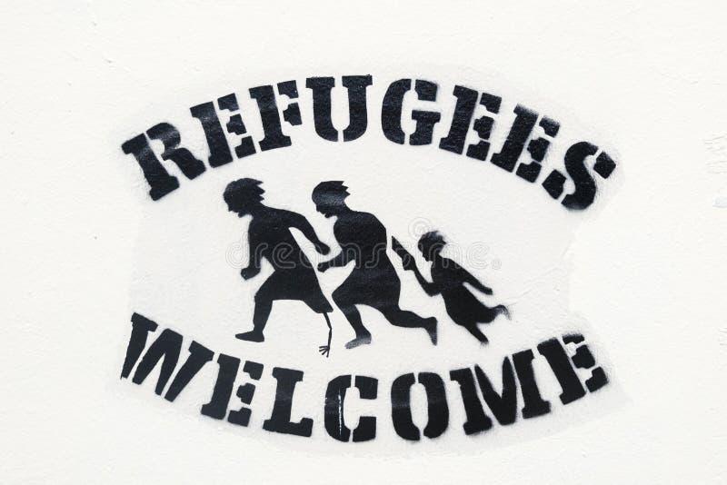 Lisbonne, Portugal, art de rue sur l'aide aux réfugiés photographie stock libre de droits