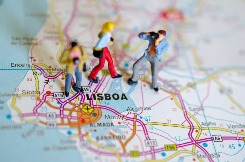 Lisbonne sur la carte photos libres de droits
