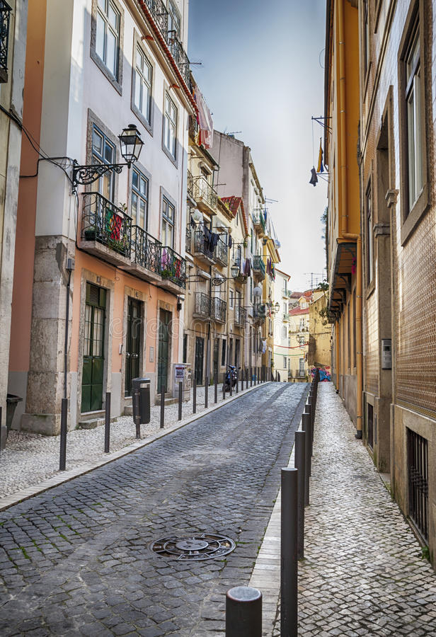 Lisbons city panorama stock image
