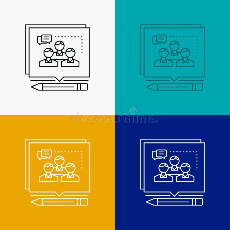 A an?lise, argumento, neg?cio, convence, debate o ?cone sobre o v?rio fundo Linha projeto do estilo, projetado para a Web e o app ilustração do vetor