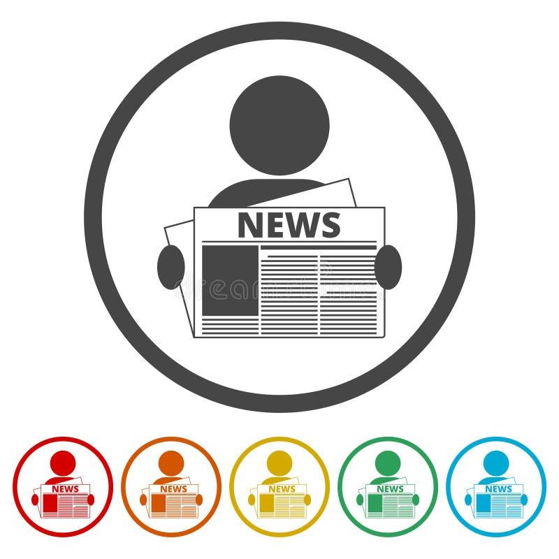 Lisez l'icône de vecteur de logo de journal, 6 couleurs incluses illustration libre de droits