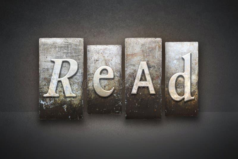 Lisez l'impression typographique de thème photographie stock